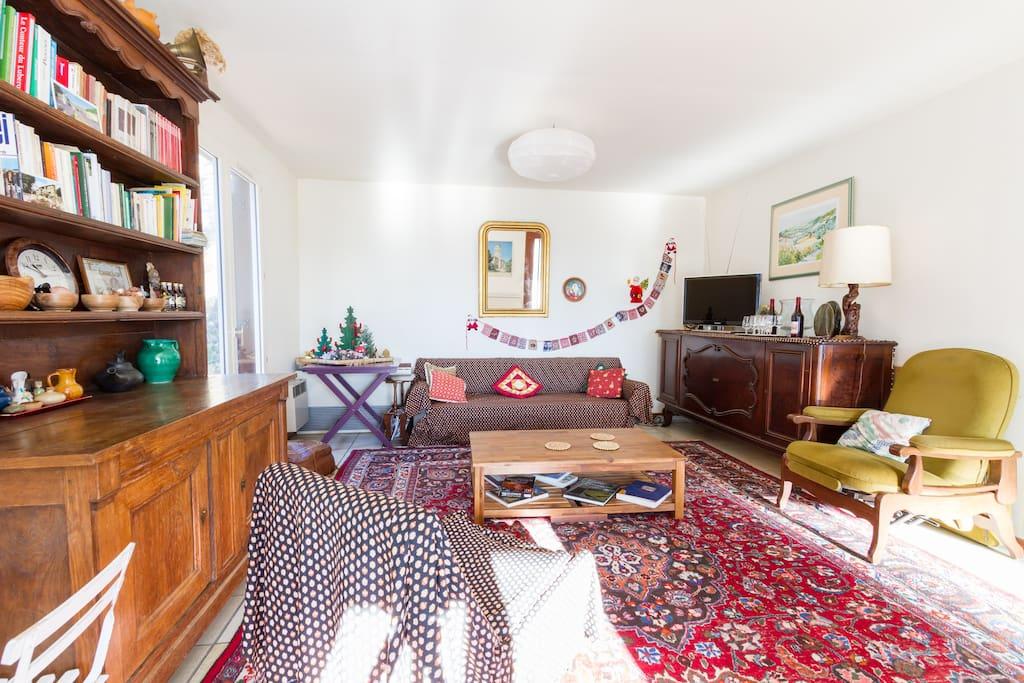 Le coin salon qui est équipé d'un sofa lit