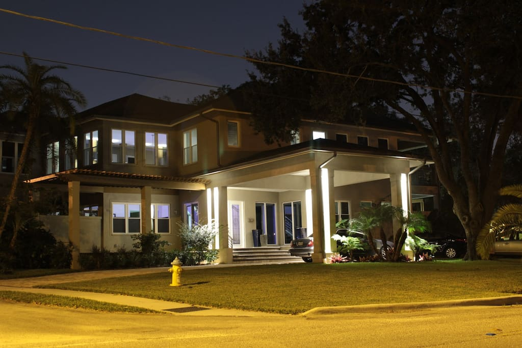 FRONT VIEW OF OUR HOUSE AT NIGHT