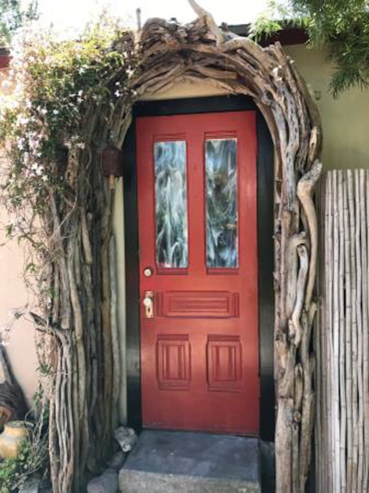 Front Door Entry way with driftwood arbor