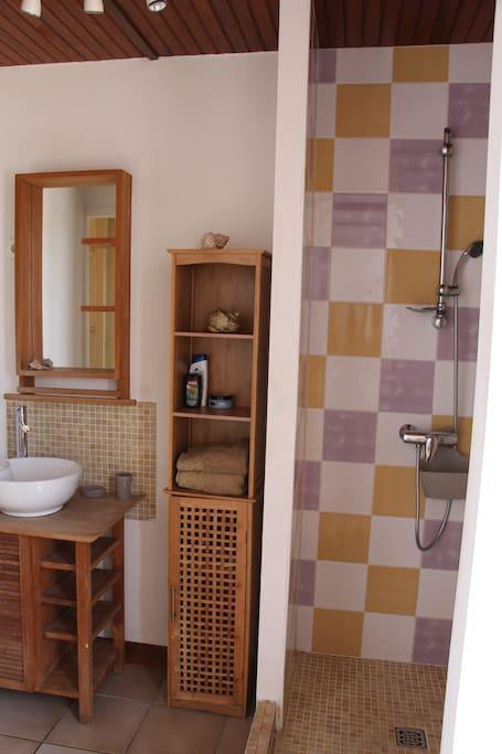 Salle d'eau / douche avec machine à laver