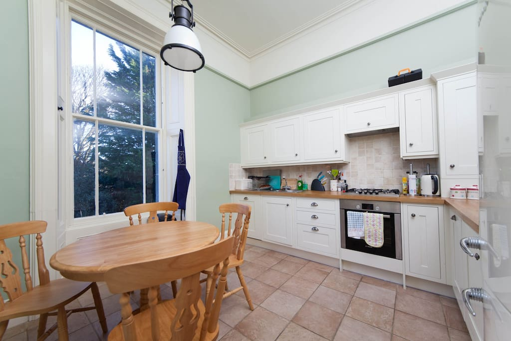 fully equipped kitchen with bosch gas hob/oven, dishwasher, washing machine (dryer in hallway) and gorenje fridge