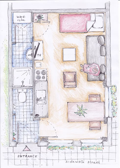 Floorplan of the studio for situation with single bed