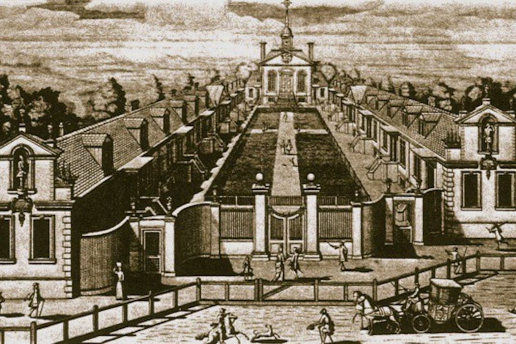 Trinity Green 300 years ago. Please note that it used to be surrounded by fields, not city!