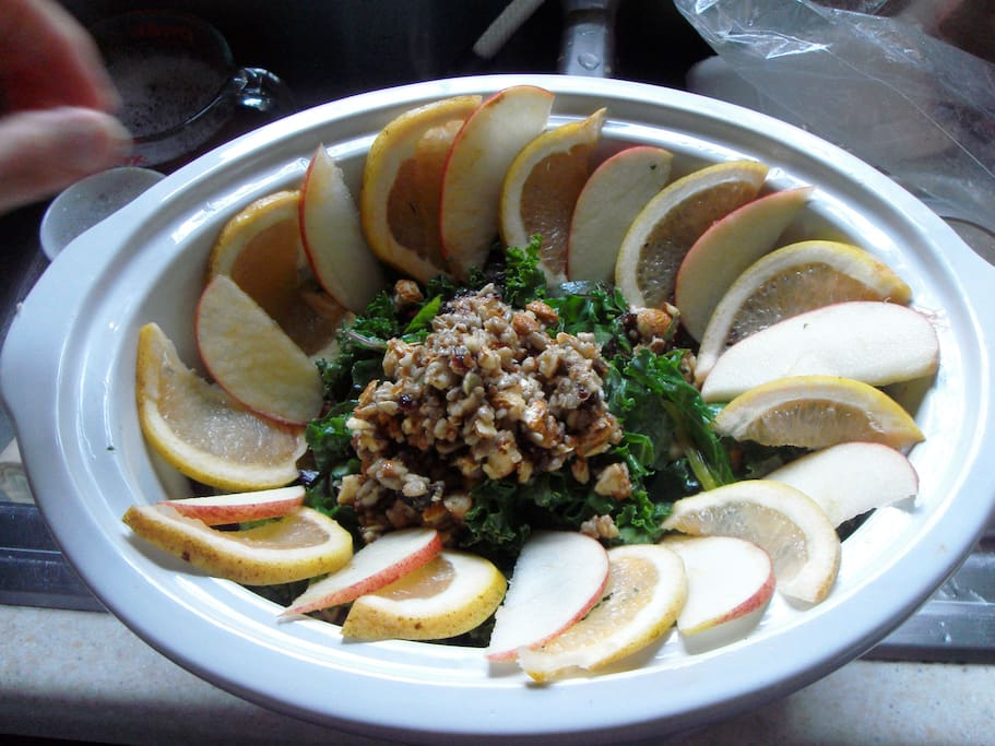 We make delicious home made salads, soups and juices for ourselves and our guests!