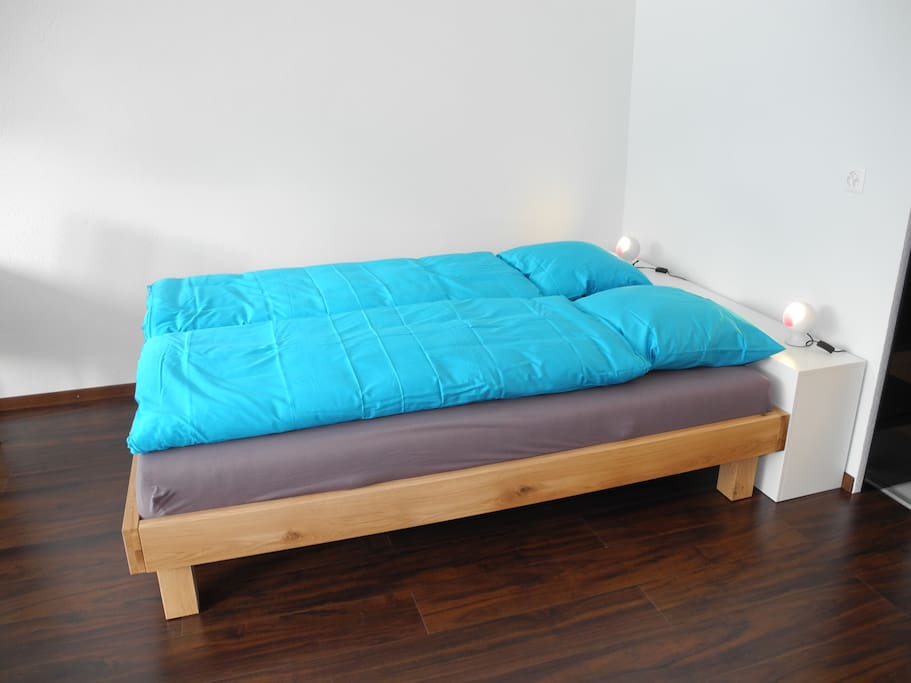 Very cozy and comfortable double bed - large enough for two people