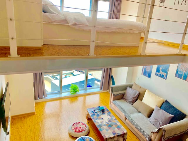 烟台大学 复式公寓 迎春大街 宝龙广场 海水浴场,高铁南站 ,4 人