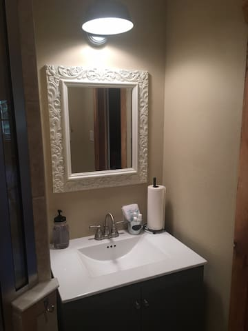 Downstairs bathroom, vanity & mirror