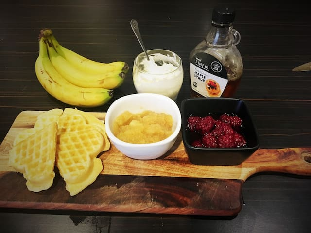 Make your own waffles with a selection of toppings to choose from.  (Continental breakfast provided also including toast w spreads, cereals, fruit, orange juice/tea/coffee)