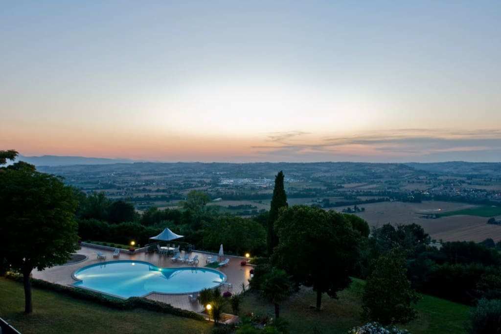 The beautiful view from the Villa of the Marche Hills