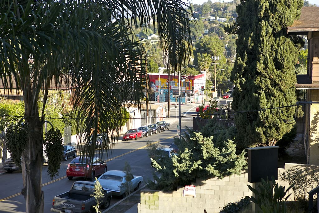 Right outside the door. Sunset Blvd at the bottom of my street. Peaking out from behind the tree on the lower right side of the frame, you can even see the sunset junction sign.