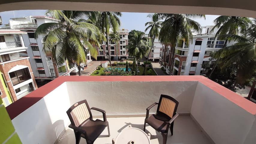 Pool View BIG TERRACE Cosy Apartment - 2BHK
