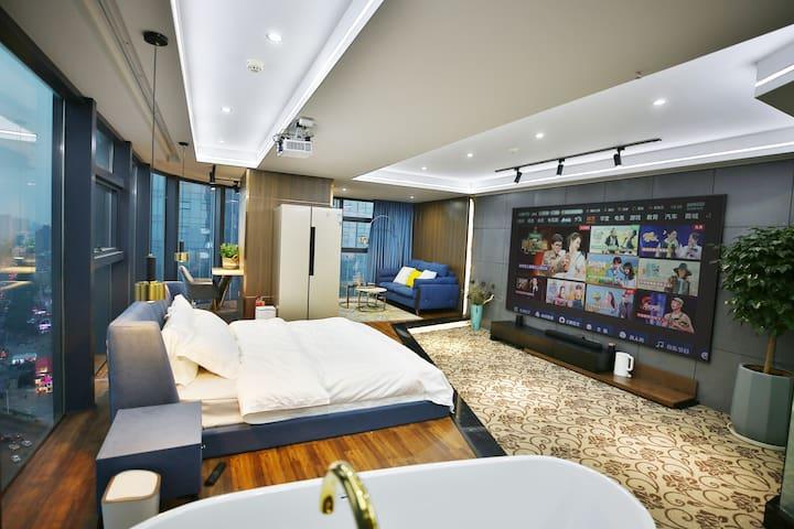 建设路口湘潭中心/超大落地窗/俯瞰河东全貌/全套小米智能/4K投影< Evening House >