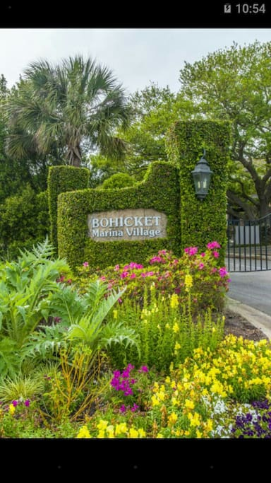 The extremely popular but small Bohicket Marina Village is a private waterfront gated community between Seabrook & Kiawah Islands on John's Island in Charleston, SC.  Upscale shops, spas, 4 Diamond restaurants or stroll the boardwalk on the water while listening to accoustic live music.