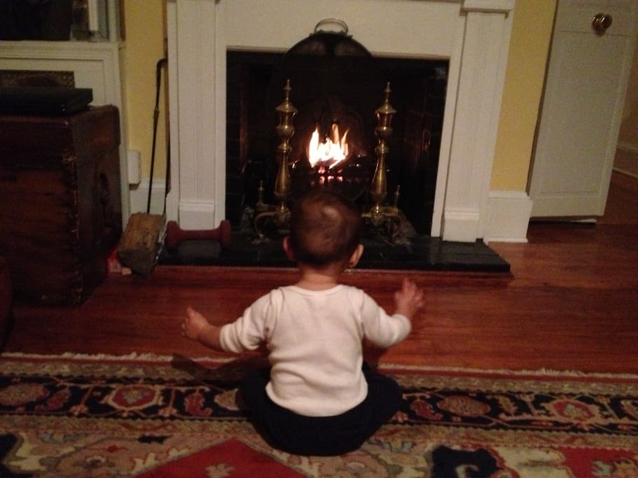 working fireplace in living room, baby not included