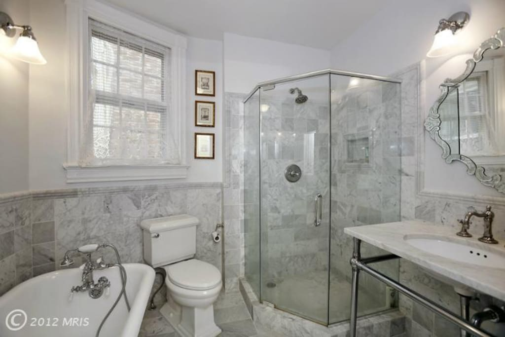 claw foot tub and shower
