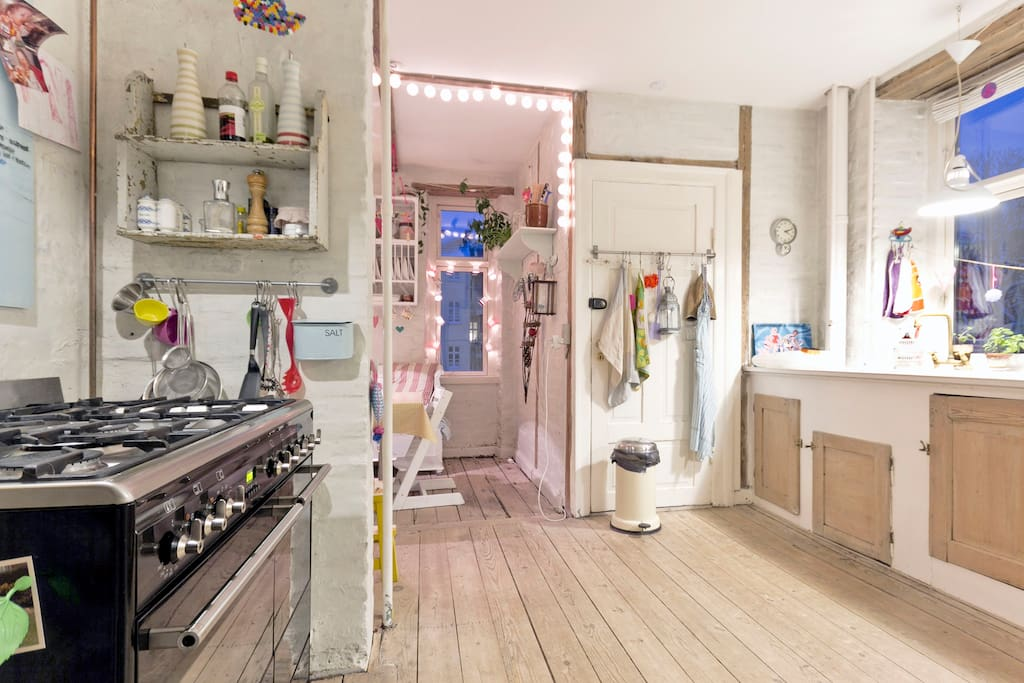 Kitchen with trendý Smeg cooker, oven and refrigerator