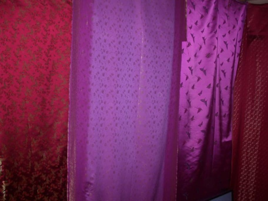 Secret room walls are covered in tapestries - partly
