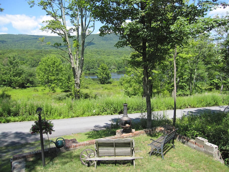View of lake and Gunks from front of house