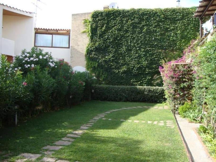 The communal garden below the flat