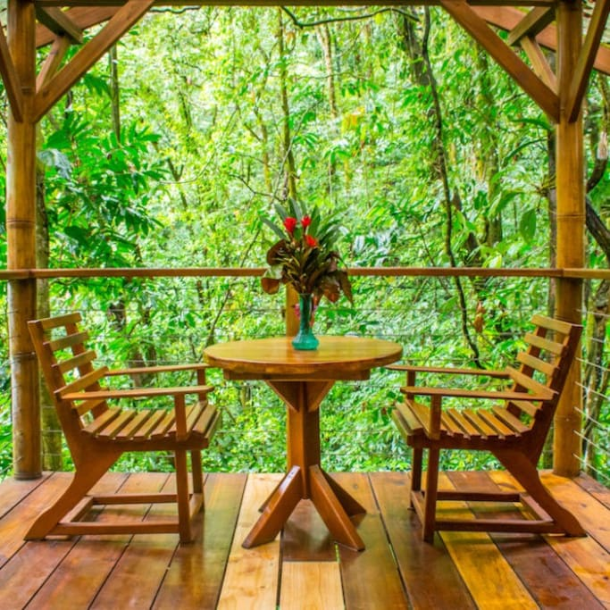 Fila Tortuga balcony - the perfect spot for quiet reflection, sipping coffee, reading a book, and observing the jungle