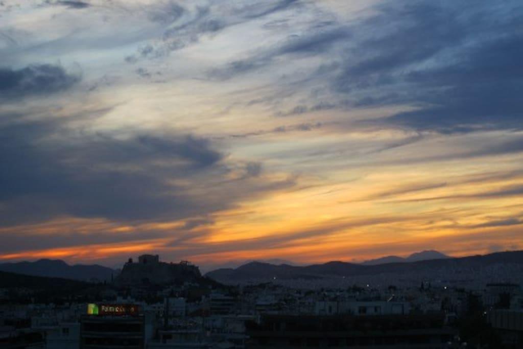 Sunset view towards Acropolis hill