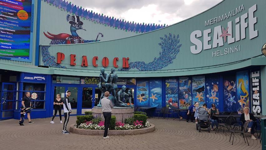 Peacock Theatre and Sea Life. Amusement park Linnanmäki