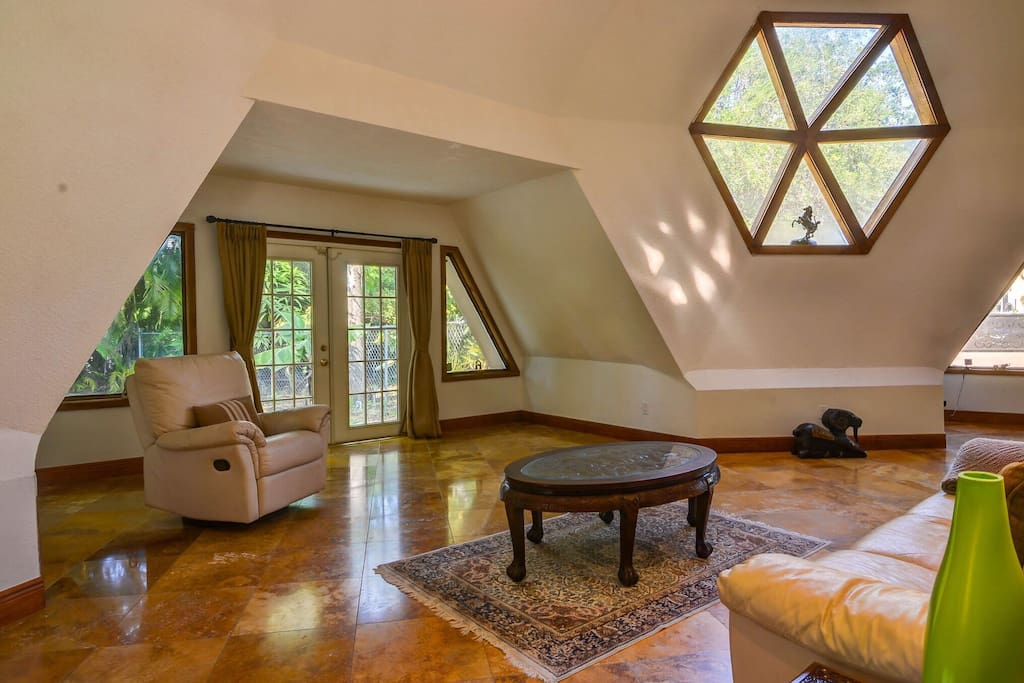 Living Room with main skylight