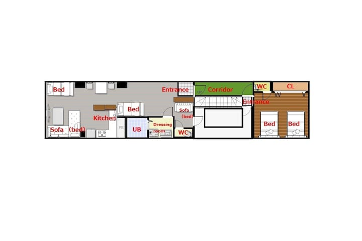 floor map  It is reserved for the 2nd floor. It is divided into a living room and a bedroom. The bedroom also has a large closet.