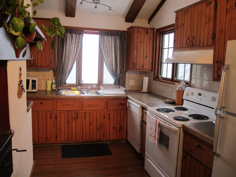Spacious kitchen with view