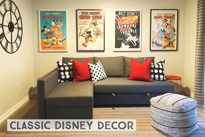 We decorated our place with a fun but classy Disney motif that's great for all ages. We incorporated classic and vintage Mickey Mouse and friends items throughout the house.
