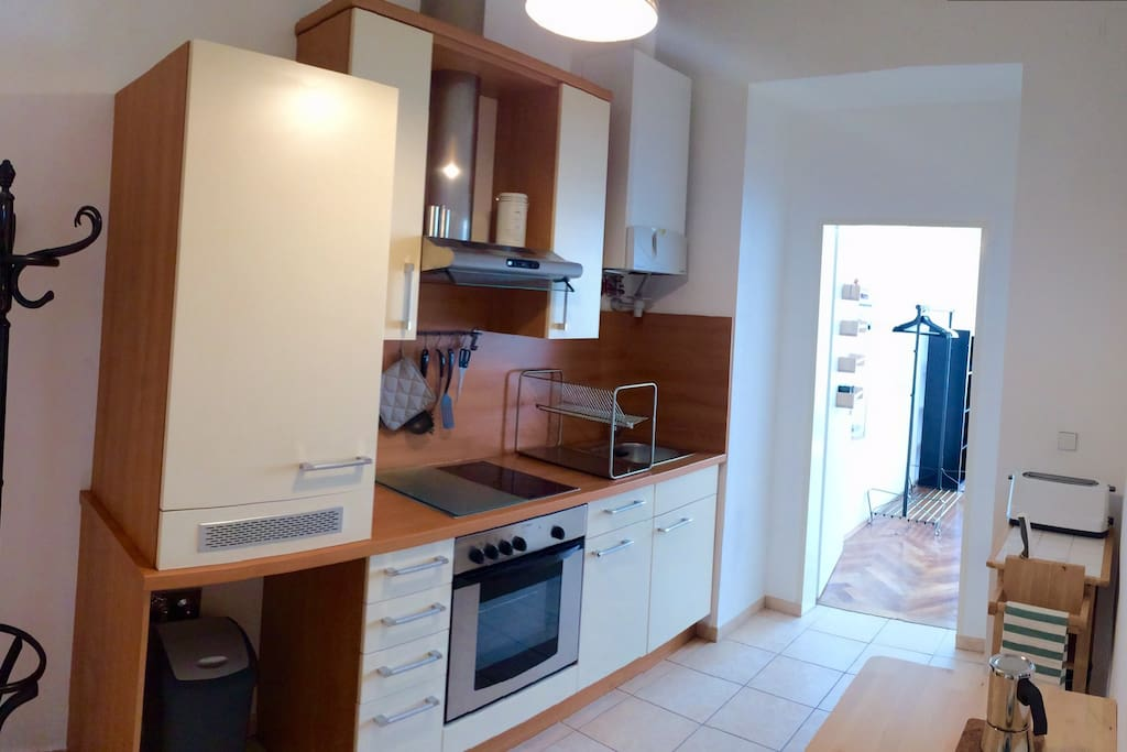 Well-equipped kitchen with all amenities. Stove, oven, fridge etc.
