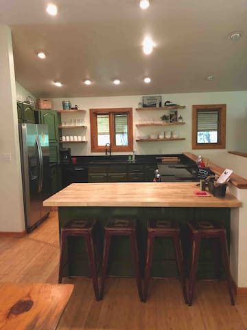 New kitchen with a breakfast bar