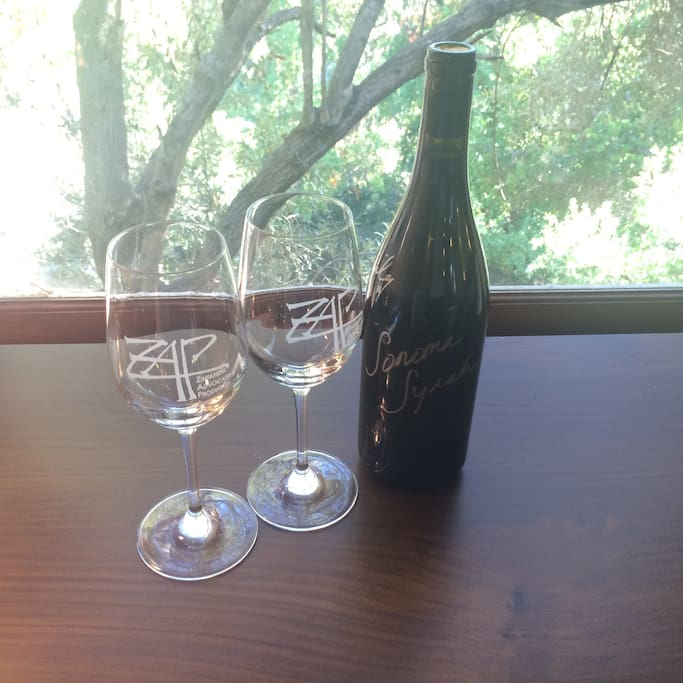 Be greeted with a complimentary bottle of our award-winning estate-made, family wine.