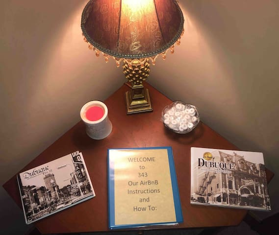 Our welcome table with local books on the history of Dubuque