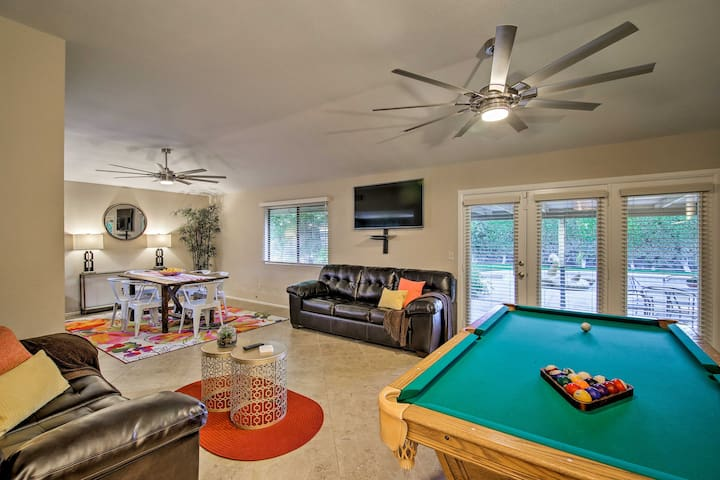A pool table in the living space keeps the whole crew entertained.
