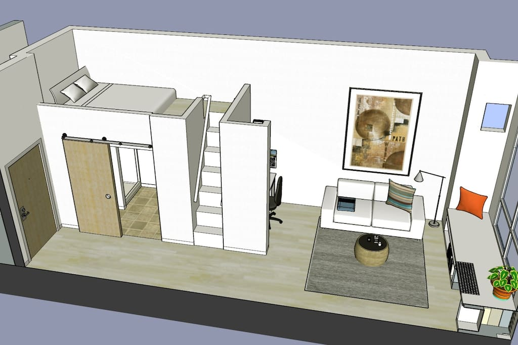Unit includes living room and loft bed.