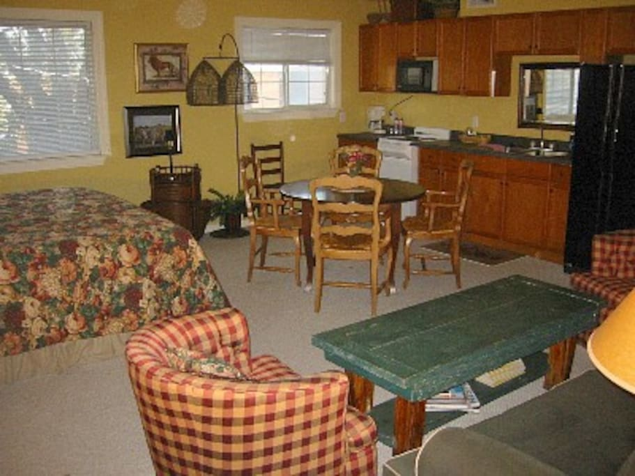 Your Tree House King Studio/Flat with galley kitchen & balcony overlooking the grounds...