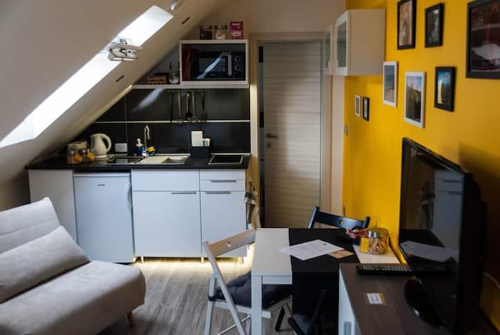 Brand new trendy & cosy studio A/C & free P & WiFi