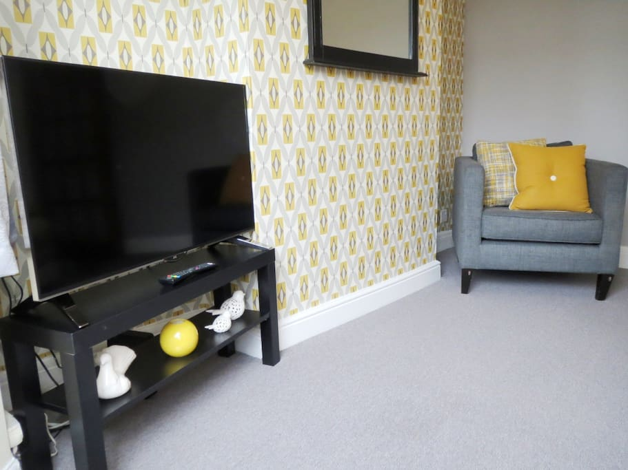 Cosy living room with new 4k TV smart TV with Freeview Play