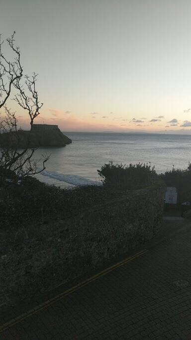 View of St Catherine's Island and beach from upstairs living room.