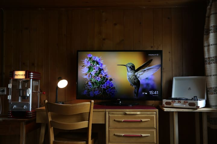 TV mit Chromecast & Popcornmaschine für den gemütliche Abend oder ein Schreibtisch für die Arbeit zwischendurch.