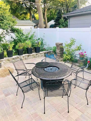 Fall is Here! Who remembers those camp fires,  no need to gather wood and sit on the ground.  Grab a cushion from the garage, pick a comfy chair and enjoy this lovely area of the garden this time of the year.