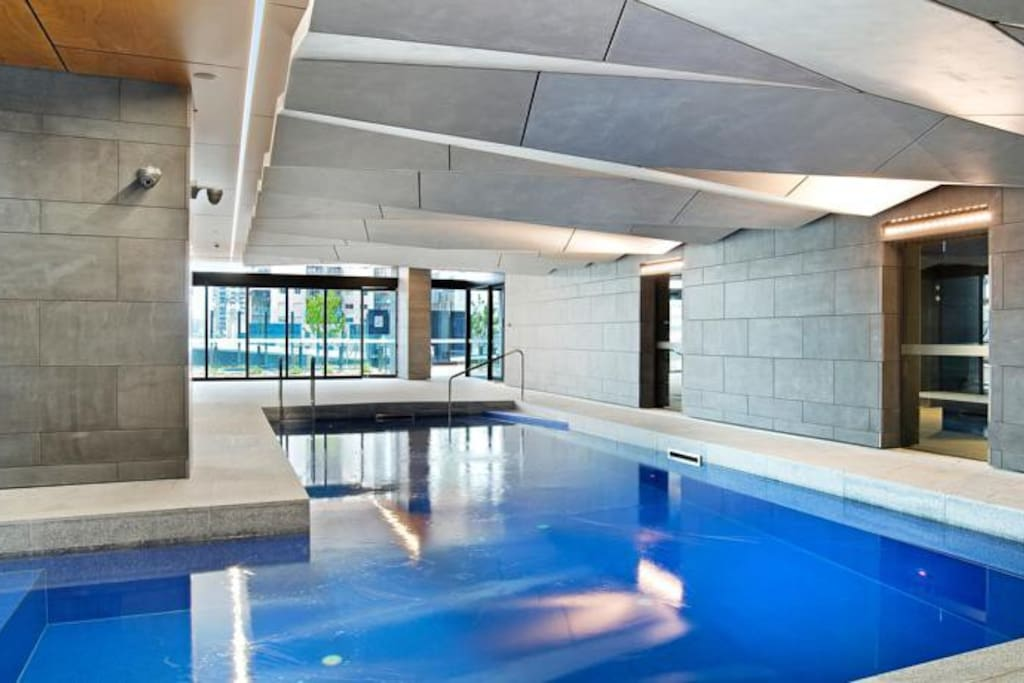 An indoor heated pool.