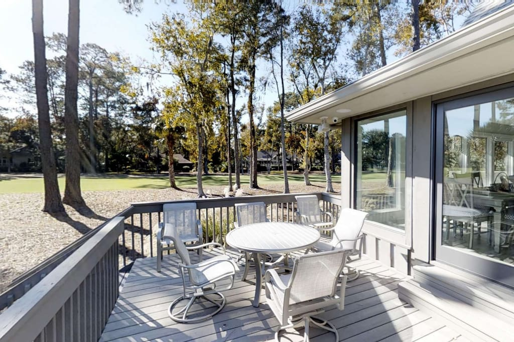 Private Deck with Table and 6 Chairs overlooking 2nd tee of Harbour Town Golf Course