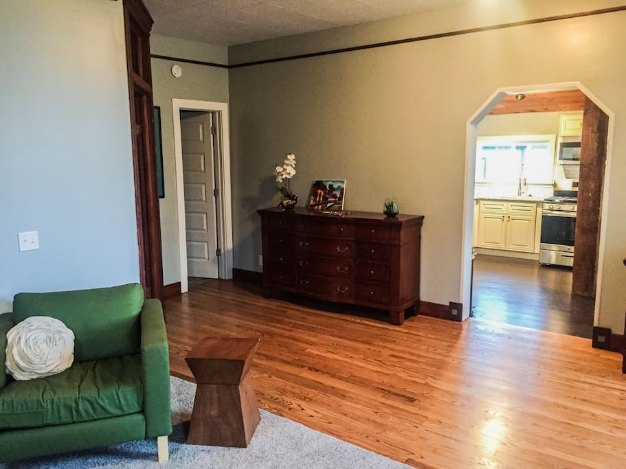 Spacious living room with host-provided games. Ideal for sharing a cocktail