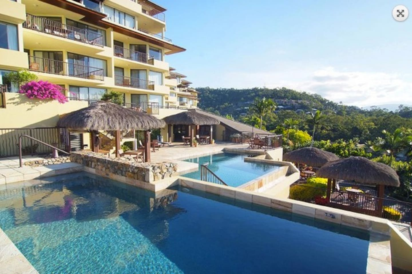 Waters Edge resort. Unit is on the third floor overlooking these pools
