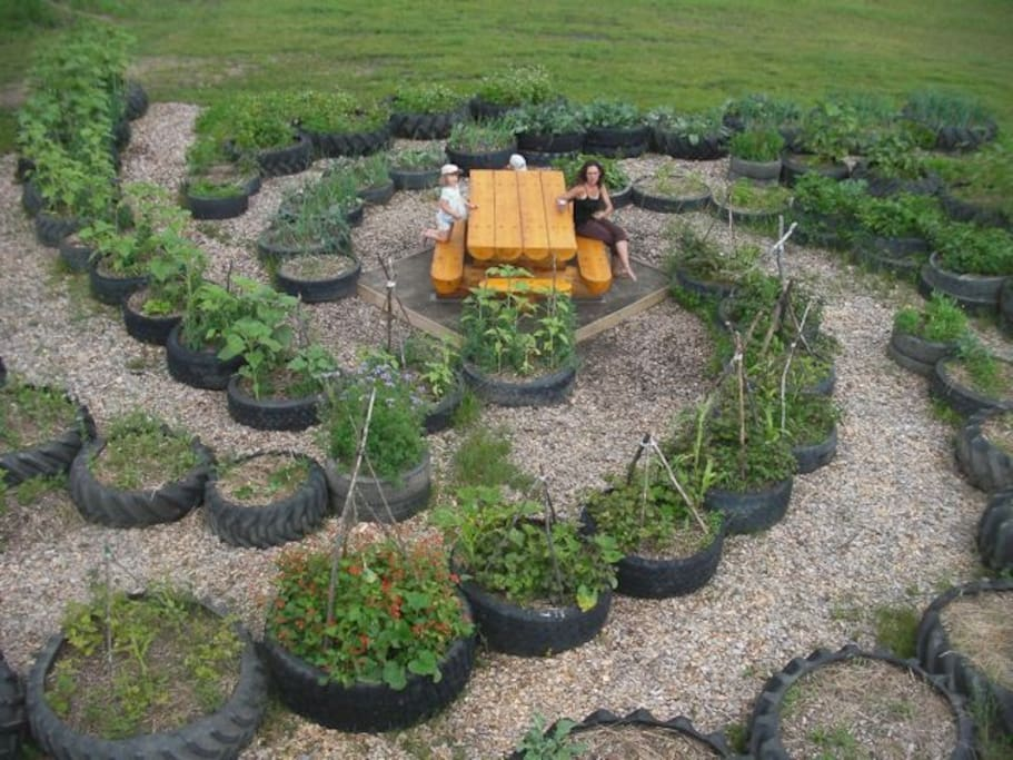 Galaxy garden made from tractor tires