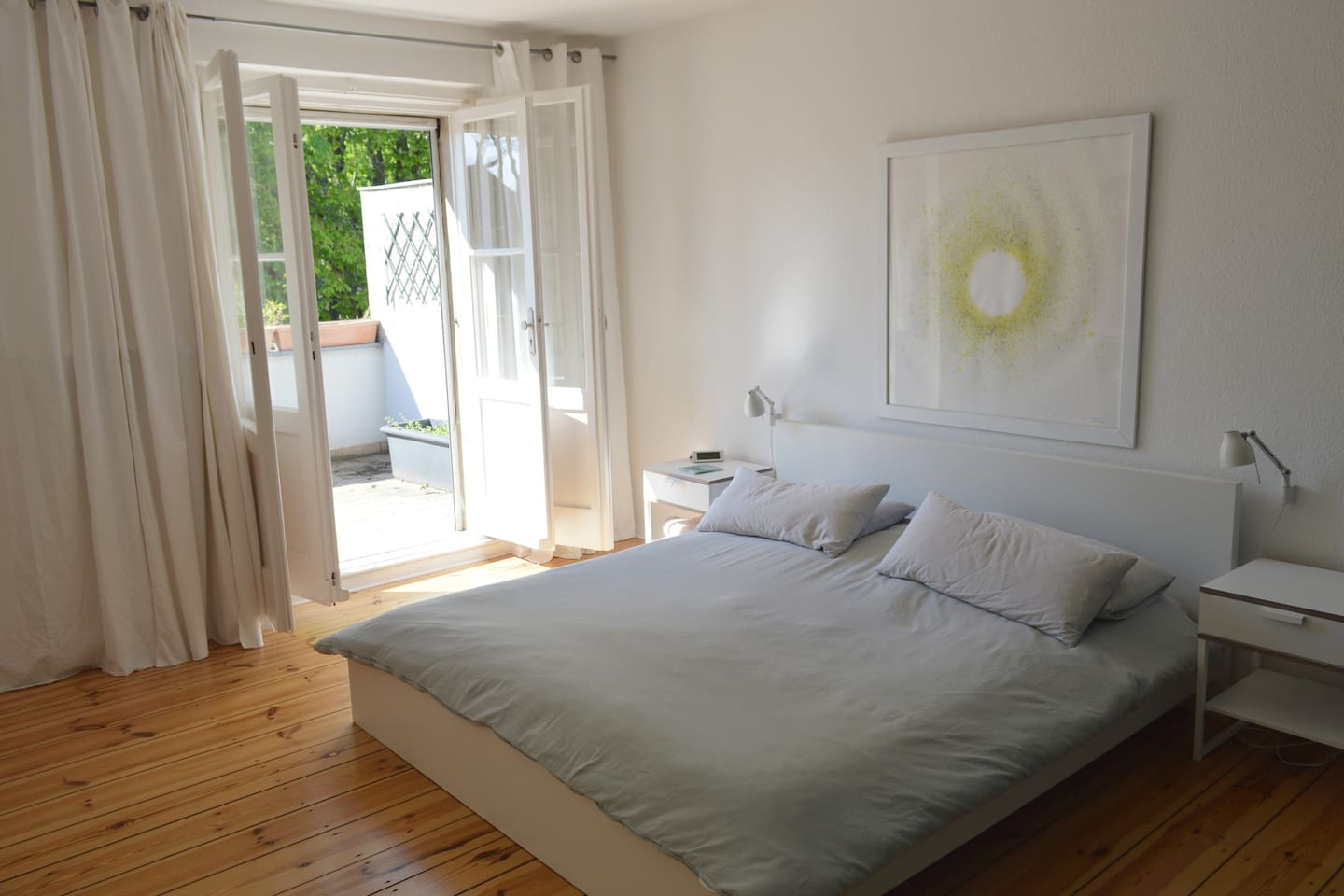Master bedroom with large sunny balcony