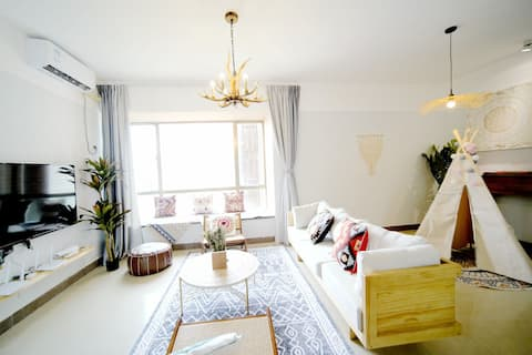 Elephant to 丨 [Bohemian] Near Arch North Port/High Speed Railway Station/Direct to Changlong/Moore Square/Barrier Mountain/Super Large 3BR Double Bath Mountain View