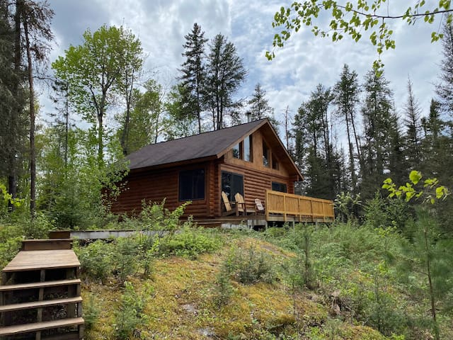Leaning Cedar Cabin next to the Boundary Waters